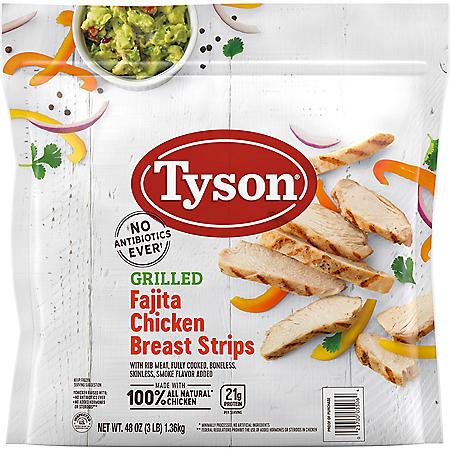 Tyson Frozen Grilled Fajita Chicken Breast Strips (48 oz.)