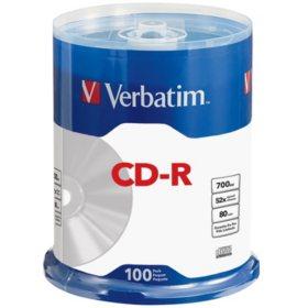 Verbatim 700MB 80MIN 52X CD-R Spindle, 100 Pack