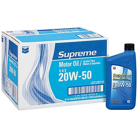 Chevron Supreme 20W50 Motor Oil - 1 Quart Bottles - 12 pack