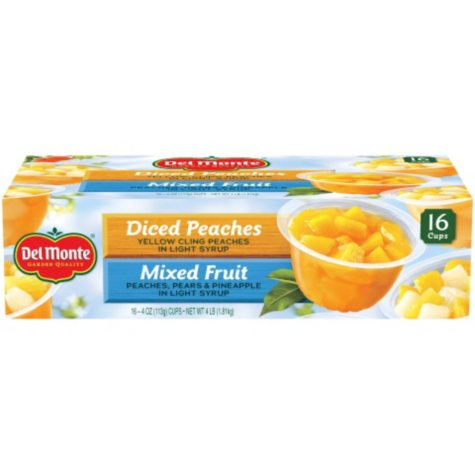 Del Monte Fruit Cups, Diced Peaches, Mixed Fruit  (4 oz. cup, 16 ct.)