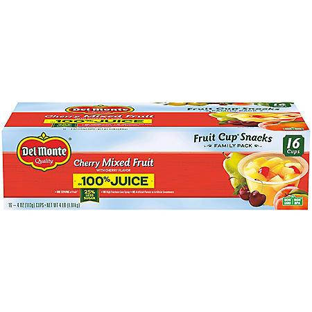 Del Monte Cherry Mixed Fruit (4 oz., 16 ct.)