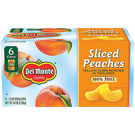 Del Monte Sliced Peaches in 100% Juice (15 oz., 6 pk.)