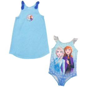 Girls Licensed Swimsuit and Coverup Dress