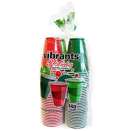 Vibrants Holiday Cold Plastic Cups, 16 oz. (140 ct.)