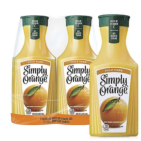 Simply Pulp-Free Orange Juice (52 fl. oz., 2 pk.)