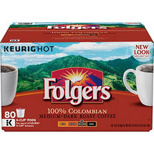 Folgers Gourmet Selections Coffee, Lively Colombian (80 K-Cups)
