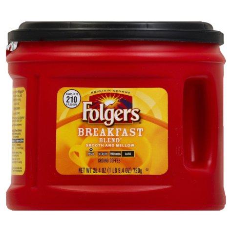 Folgers Breakfast Blend Mild Roast Ground Coffee (25.4 oz. canister)