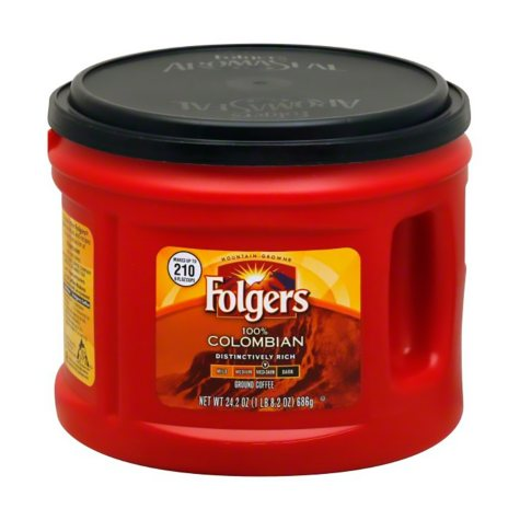 Folgers 100% Colombian Medium Dark Roast Ground Coffee (24.2 oz. canister)