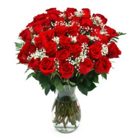 Classic Red Rose Bouquet, 36 Stems (Choose With or Without Vase)