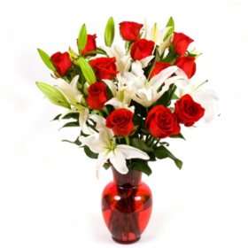 Red Roses & Lilies Bouquet