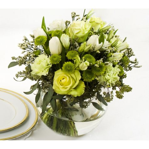 Centerpiece - Green & White - 6 pc.