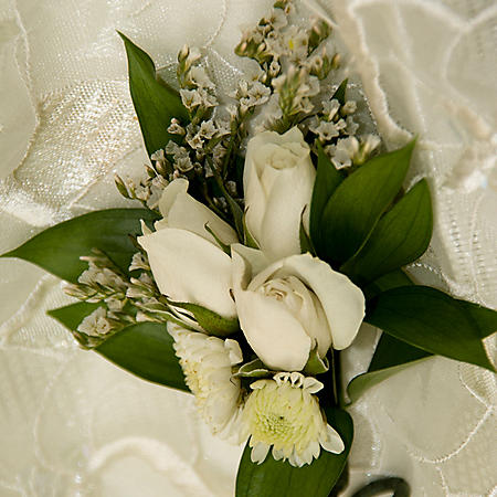 Wedding Collection White, Corsage and Boutonniere (Choose 12 or 24 pieces)