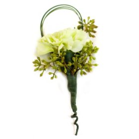 Wedding Collection Green and White, Corsage and Boutonniere (Choose 12 or 24 pieces)