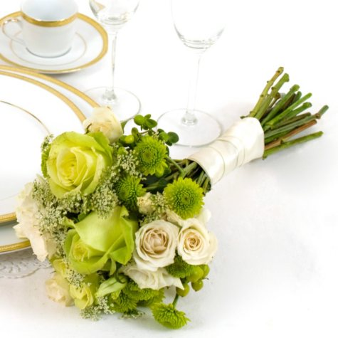 Wedding Collection - Green & White - Bridesmaid Bouquets - 2pc