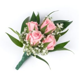 Wedding Collection Pink, Corsage and Boutonniere (Choose 12 or 24 pieces)