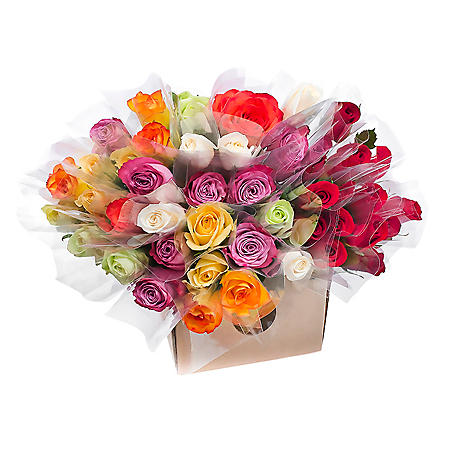 Individually Sleeved Roses, Red and Assorted Colors (choose 80 or 150 stems)