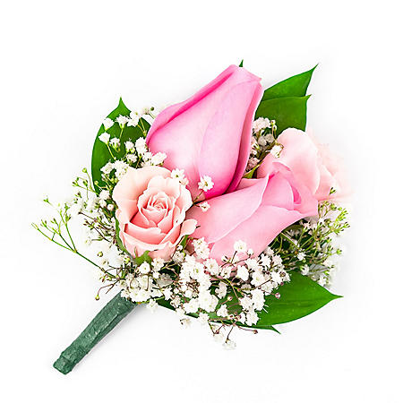 Wedding Collection Pink Rose, Corsage and Boutonniere (choose 12 or 24 piece)