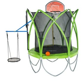Spark 12' Trampoline with Basketball Hoop, Ball and Web Swing