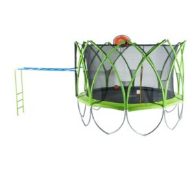 Spark 10' Trampoline with Basketball Hoop and Climbing Bar