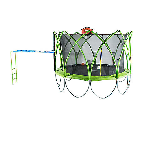 Spark 14' Trampoline with Basketball Hoop and Climbing Bar