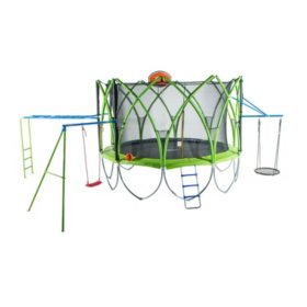 Spark 12' Trampoline with Climbing Bar, Web Swing, Ladder, Basketball Hoop and Swing Set