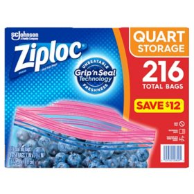 Ziploc Storage Quart Bags with Grip 'n Seal Technology (216 ct.)