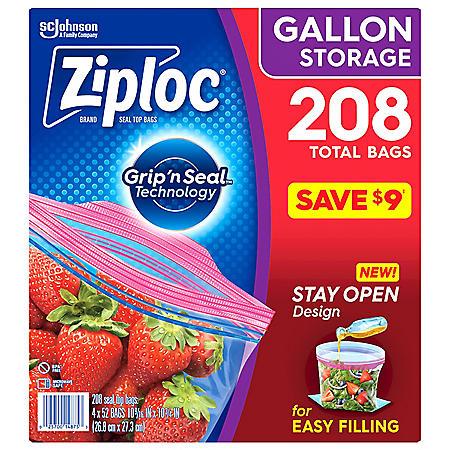 Ziploc Easy Open Tabs Storage Gallon Bags (208 ct.)