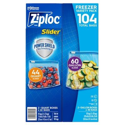 Ziploc® Brand Slider Freezer Gallon and Quart Bags with Power Shield 104 ct