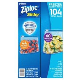 Ziploc® Brand Slider Freezer Gallon and Quart Bags with Power Shield Technology (104 ct.)