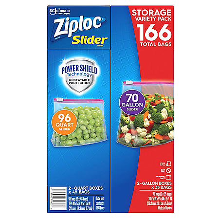 Ziploc Slider Storage Bags 166 Count Variety Pack: Quart (96 ct.), Gallon (70 ct.)