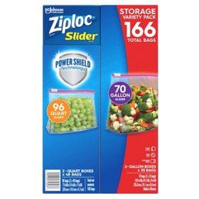 Ziploc Slider Storage Bags 166ct Variety Pack: Quart (96 ct), Gallon (70 ct)