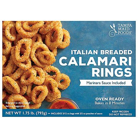 Oven Ready Italian Breaded Calamari Rings With Marinara Sauce