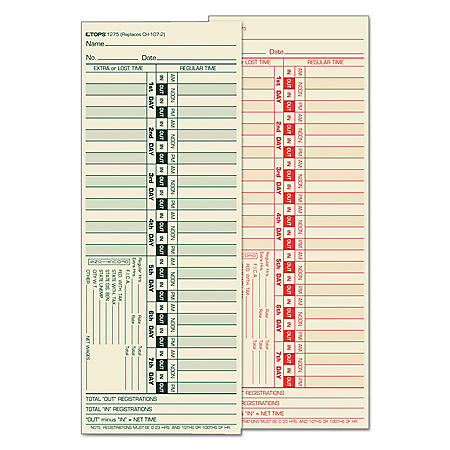 TOPS - Bi-Weekly Time Clock Cards