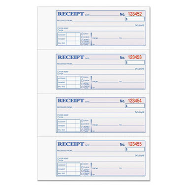 TOPS - Money/Rent Receipt Books, 2-3/4 x 7 1/8, Three-Part Carbonless, 100 Sets per Book
