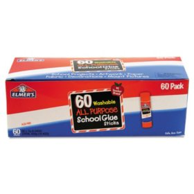 Elmer's Washable All Purpose School Glue Sticks, Clear, 60ct.