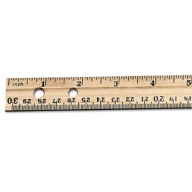 "Charles Leonard Economical Beveled Wood 12"" Ruler w/ Single Metal Edge, Natural (36-pack)"