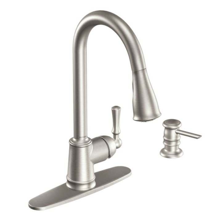 Moen Lancaster Single Handle Pulldown Kitchen Faucet - Stainless ...