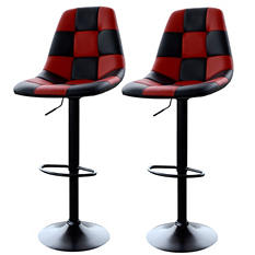 AmeriHome Bar Chairs, Red Checkered Racing Pattern (Set of 2)