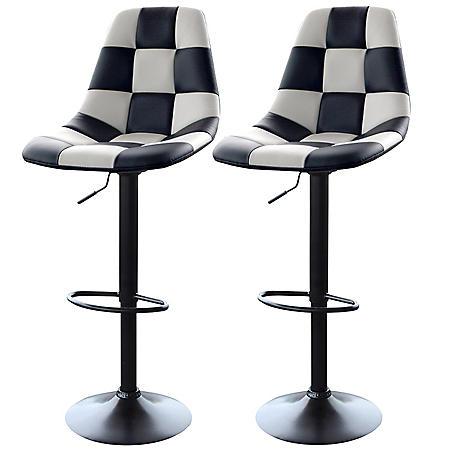 AmeriHome Bar Chairs, White Checkered Racing Pattern (Set of 2)