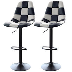 AmeriHome Bar Chairs, White Checkered Racing Pattern (Set of 2)