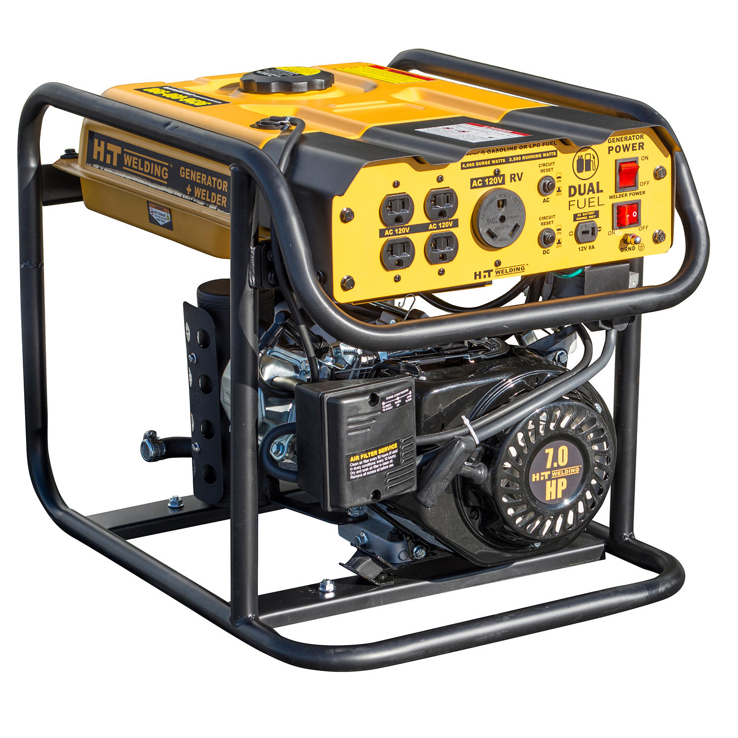 HIT 4000 Surge Watt Dual-Fuel Generator with 85 Amp Stick Welder
