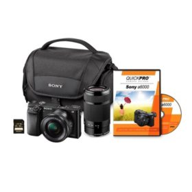 Sony A6000 24MP Interchangeable Two Lens Bundle with 16-50mm Lens & 55-210mm Lens, 32GB SD Card, and Camera Case