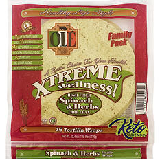 Ole Xtreme Wellness Spinach and Herbs Wrap Tortillas, Twin Pack (16 ct.)