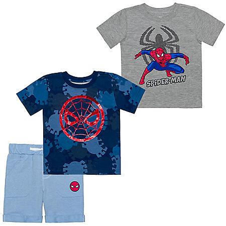 Licensed Spiderman 3 Piece Short Set