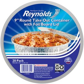 "Reynolds 9"" Round Foil Take Out Containers with Lids (20 ct.)"