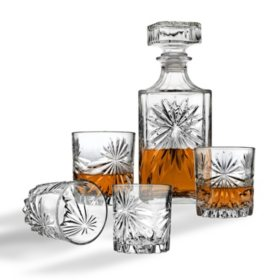 5-Piece Whiskey Decanter Set with Double Old Fashioned Glasses (Assorted Styles)