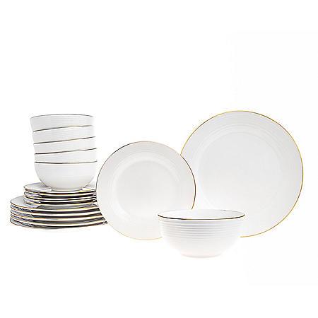 Saba 18-Piece Gold Rim Dinnerware Set, Service for 6