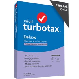 TurboTax Deluxe 2020 Fed + Efile (PC/MAC Disc)