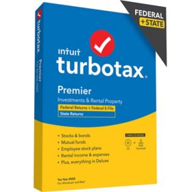 TurboTax Premier 2020 Fed + Efile + State (PC/MAC Disc)
