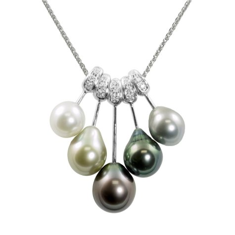 "18"" 14K White Gold Multi-Color Tahitian Pearl & Diamond Pendant"